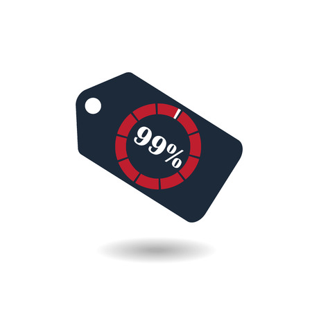 99: Sale Tag with pie chart diagram icon. 99% sale black isolated with shadow. Flat design style. vector illustration