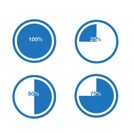 pictogrammen taartgrafiek cirkel percentage grafiek blauw 25 50 75 100% set illustratie ronde vector Vector Illustratie