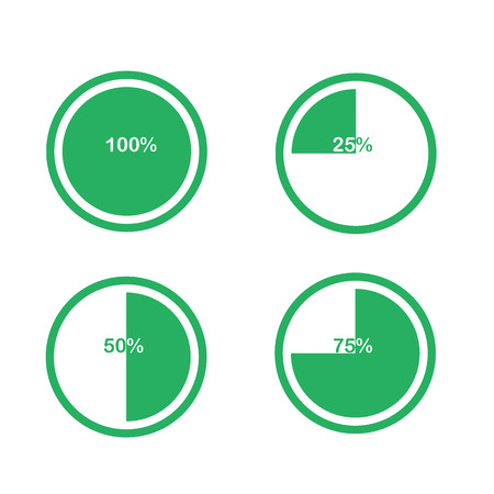 Icons pie graph circle percentage chart green 25 50 75 100 icons pie graph circle percentage chart green 25 50 75 100 set illustration round vector ccuart Images