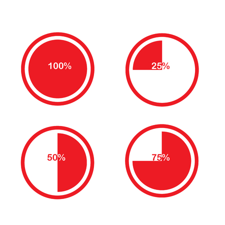 segmented: icons pie graph circle percentage chart red 25 50 75 100 % set illustration round vector