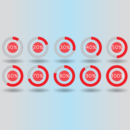 80 90: icons pie graph circle percentage red chart 10 20 30 40 50 60 70 80 90 100 % set illustration round vector