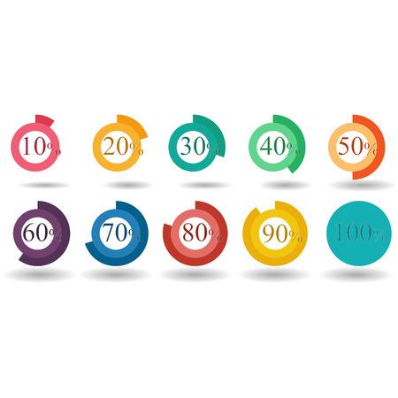 80 90: pie graph circle percentage chart 10 20 30 40 50 60 70 80 90 100 % set illustration round vector
