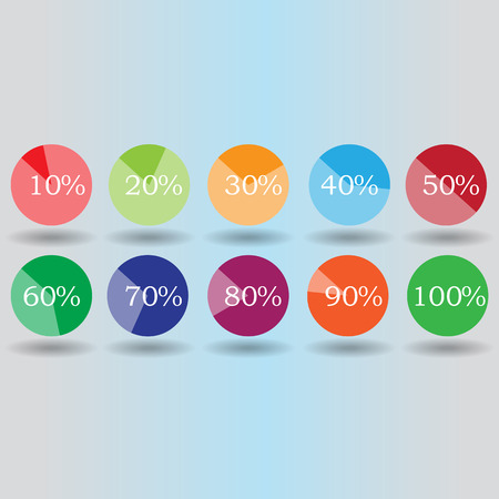 pie graph circle percentage chart 10 20 30 40 50 60 70 80 90 100 % set illustration round vector