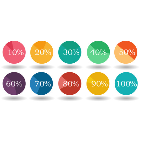 segmented: pie graph circle percentage chart 10 20 30 40 50 60 70 80 90 100 % set illustration round vector