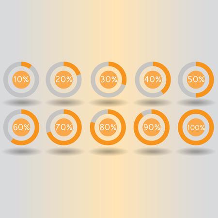 80 90: icons pie graph circle percentage orange chart 10 20 30 40 50 60 70 80 90 100 % set illustration round vector Illustration