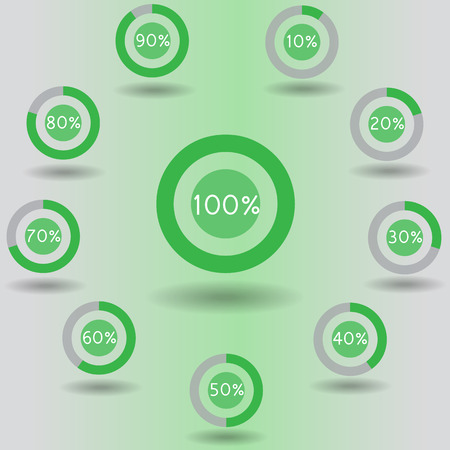 80 90: icons pie graph circle percentage green chart 10 20 30 40 50 60 70 80 90 100 % set illustration round vector