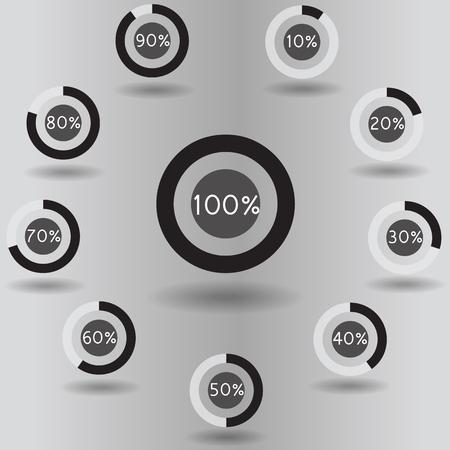 80 90: icons pie graph circle percentage black chart 10 20 30 40 50 60 70 80 90 100 % set illustration round vector Illustration