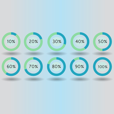 80 90: icons pie graph circle percentage blue chart 10 20 30 40 50 60 70 80 90 100 % set illustration round vector Illustration