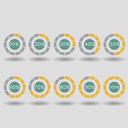 80 90: Business infographic icons pie graph circle percentage orange chart 10 20 30 40 50 60 70 80 90 100 % set illustration round vector