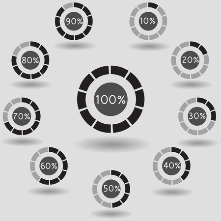 80 90: Business infographic icons pie graph circle percentage black chart 10 20 30 40 50 60 70 80 90 100 % set illustration round vector Illustration