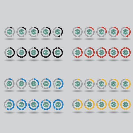 80 90: icons pie graph circle percentage blue yellow red black chart 10 20 30 40 50 60 70 80 90 100 % set illustration round vector Illustration