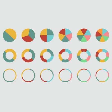 4 5: pie graph 2 3 4 5 6 7 circle chart set illustration round vector