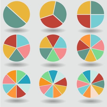 pie graph circle chart set illustration round vector