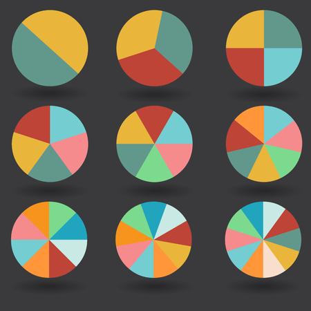 pie graph 2 3 4 5 6 7 8 9 10 circle chart set illustration round vector Illustration