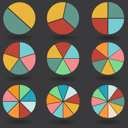 7 8: pie graph 2 3 4 5 6 7 8 9 10 circle chart set illustration round vector Illustration