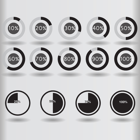 25 30: icons pie graph circle percentage black chart 10 20 25 30 40 50 60 70 75 80 90 100 % set illustration round vector Illustration