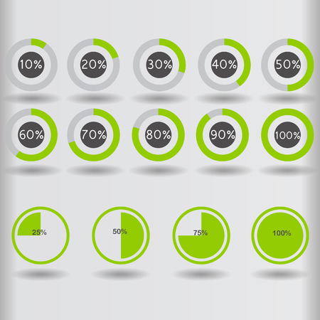 25 30: icons pie graph circle percentage green chart 10 20 25 30 40 50 60 70 75 80 90 100 % set illustration round vector