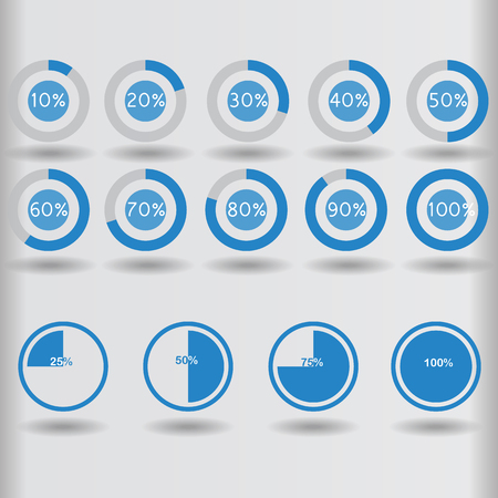 20 25: icons pie graph circle percentage blue chart 10 20 25 30 40 50 60 70 75 80 90 100 % set illustration round vector
