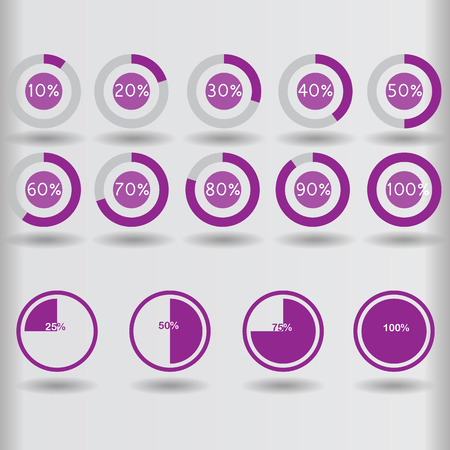 25 30: icons pie graph circle percentage purple chart 10 20 25 30 40 50 60 70 75 80 90 100 % set illustration round vector