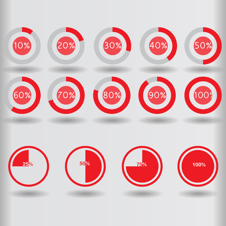 segmented: icons pie graph circle percentage red chart 10 20 25 30 40 50 60 70 75 80 90 100 % set illustration round vector Illustration