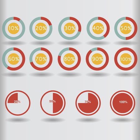 25 30: icons pie graph circle percentage red chart 10 20 25 30 40 50 60 70 75 80 90 100 % set illustration round vector Illustration