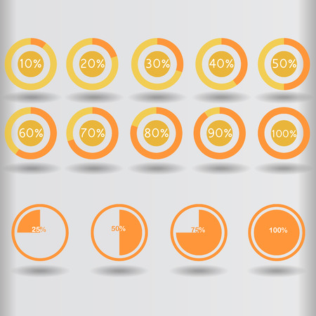 25 30: icons pie graph circle percentage orange chart 10 20 25 30 40 50 60 70 75 80 90 100 % set illustration round vector