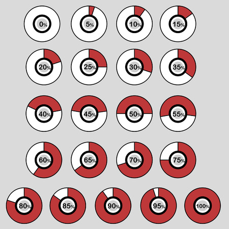 85 90: icons template pie graph circle percentage red ball chart 0 5 10 15 20 25 30 35 40 45 50 55 60 65 70 75 80 85 90 95 100 % set illustration round vector