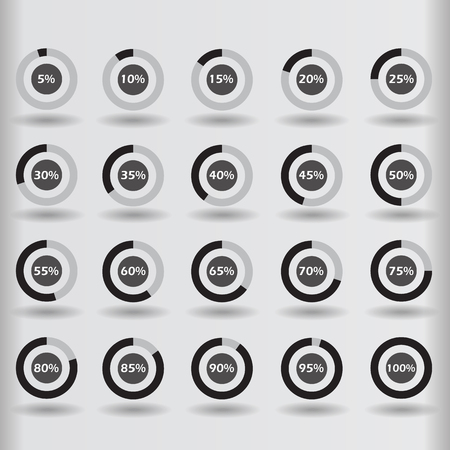 60 65: icons template pie graph circle percentage black chart 5 10 15 20 25 30 35 40 45 50 55 60 65 70 75 80 85 90 95 100 % set illustration round vector Illustration