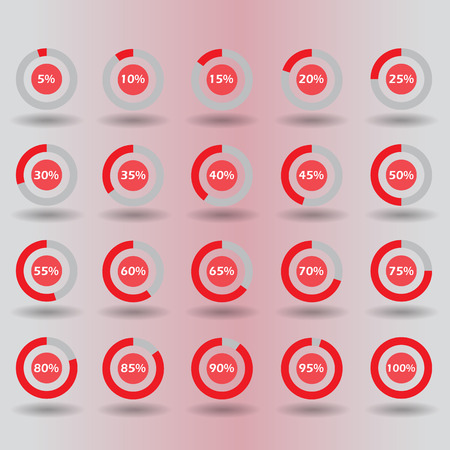 60 65: icons template pie graph circle percentage red chart 5 10 15 20 25 30 35 40 45 50 55 60 65 70 75 80 85 90 95 100 % set illustration round vector