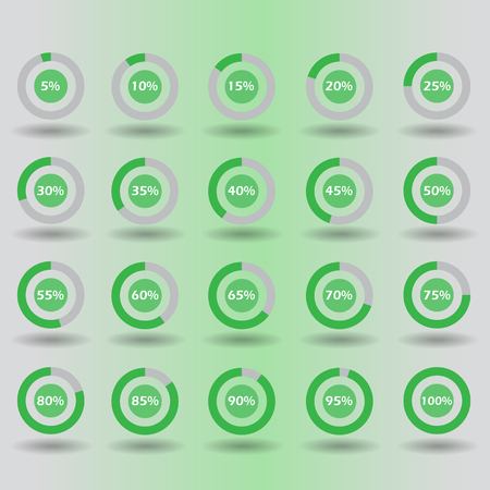 80 85: icons template pie graph circle percentage green chart 5 10 15 20 25 30 35 40 45 50 55 60 65 70 75 80 85 90 95 100 % set illustration round vector