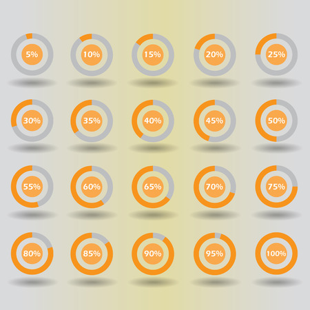 30 to 35: icons template pie graph circle percentage orange chart 5 10 15 20 25 30 35 40 45 50 55 60 65 70 75 80 85 90 95 100 % set illustration round vector Illustration