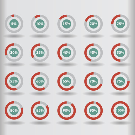 85 90: Business infographic icons template pie graph circle percentage red chart 5 10 15 20 25 30 35 40 45 50 55 60 65 70 75 80 85 90 95 100 % set illustration round vector