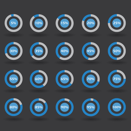 60 65: Business infographic icons template pie graph circle percentage blue chart 5 10 15 20 25 30 35 40 45 50 55 60 65 70 75 80 85 90 95 100 % set illustration round vector