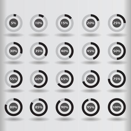 80 85: icons template pie graph circle percentage black chart 5 10 15 20 25 30 35 40 45 50 55 60 65 70 75 80 85 90 95 100 % set illustration round vector Illustration
