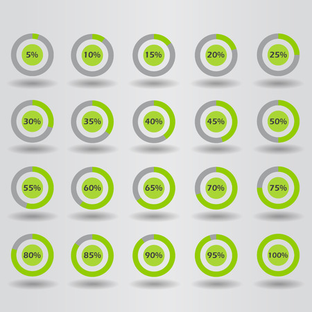 85 90: icons template pie graph circle percentage green chart 5 10 15 20 25 30 35 40 45 50 55 60 65 70 75 80 85 90 95 100 % set illustration round vector