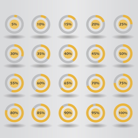 40 45: icons template pie graph circle percentage orange chart 5 10 15 20 25 30 35 40 45 50 55 60 65 70 75 80 85 90 95 100 % set illustration round vector Illustration