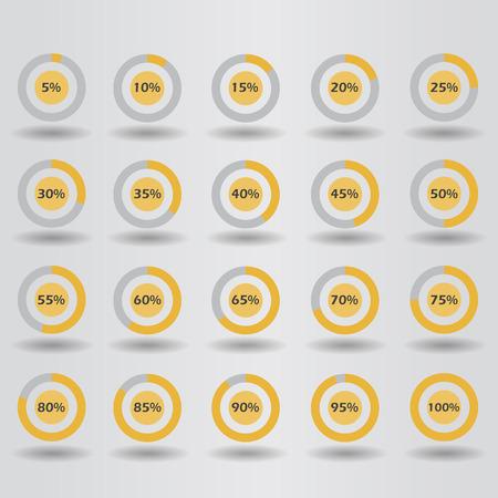 80 85: icons template pie graph circle percentage orange chart 5 10 15 20 25 30 35 40 45 50 55 60 65 70 75 80 85 90 95 100 % set illustration round vector Illustration