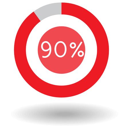 Graphe de cercle icône camembert coloré illustration vectorielle de 90% rouge Banque d'images - 63252828