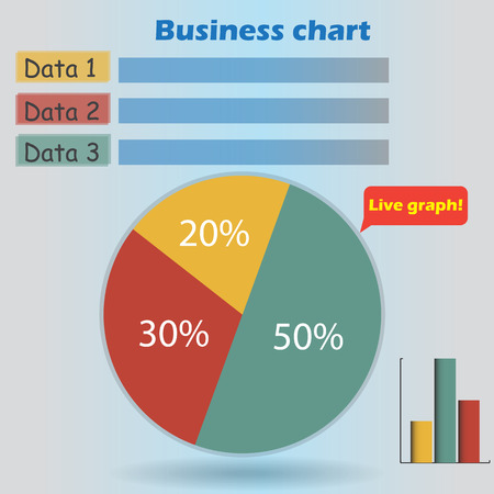 form a circle: business infographic form blank live pie and column graph circle percentage blue yellow red chart 20 30 50 % set illustration round vector Illustration
