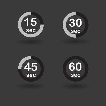 Time, clock, stopwatch, timer progress circles set 15 30 45 60 sec black vector illustration