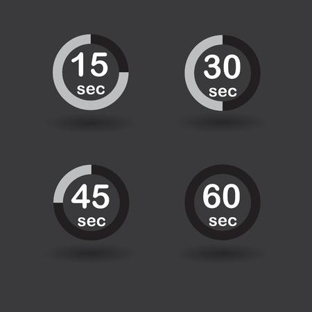 sec: Time, clock, stopwatch, timer progress circles set 15 30 45 60 sec black vector illustration