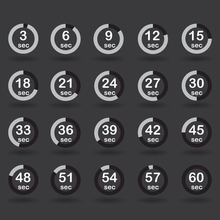 sec: Time, clock, stopwatch, timer progress circles set 5-60 sec with increments of 5 sec black vector illustration