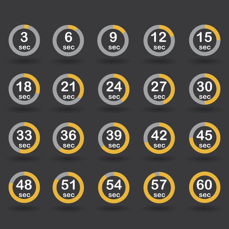 increments: Time, clock, stopwatch, timer progress circles set 5-60 sec with increments of 5 sec orange vector illustration