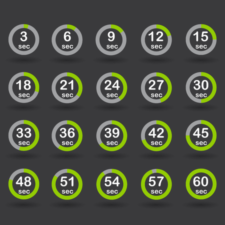 increments: Time, clock, stopwatch, timer progress circles set 5-60 sec with increments of 5 sec green vector illustration