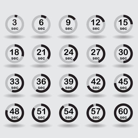 increments: Time, clock, stopwatch, timer progress circles set 5-60 sec with increments of 5 sec black vector illustration