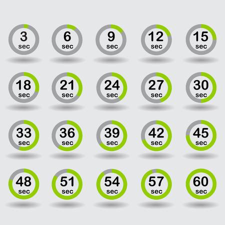 sec: Time, clock, stopwatch, timer progress circles set 5-60 sec with increments of 5 sec green vector illustration