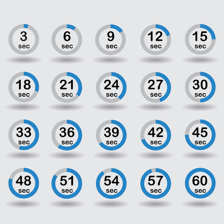 increments: Time, clock, stopwatch, timer progress circles set 5-60 sec with increments of 5 sec blue vector illustration