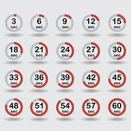 sec: Time, clock, stopwatch, timer progress circles set 5-60 sec with increments of 5 sec red vector illustration