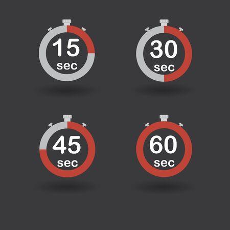 sec: Time, clock, stopwatch, timer progress circles set 15 30 45 60 sec red vector illustration