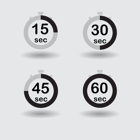 sec: Time, clock, stopwatch, timer progress circles set 15 30 45 60 sec black vector illustration